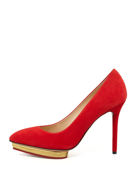 Debbie Suede Heart-Platform Pump, Red
