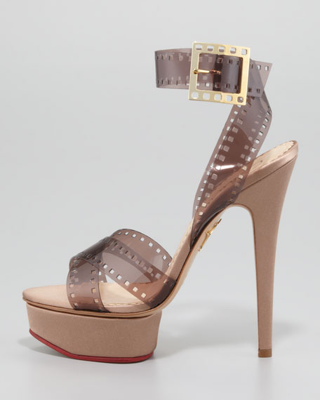 Girls on Film Platform Sandal, Sepia