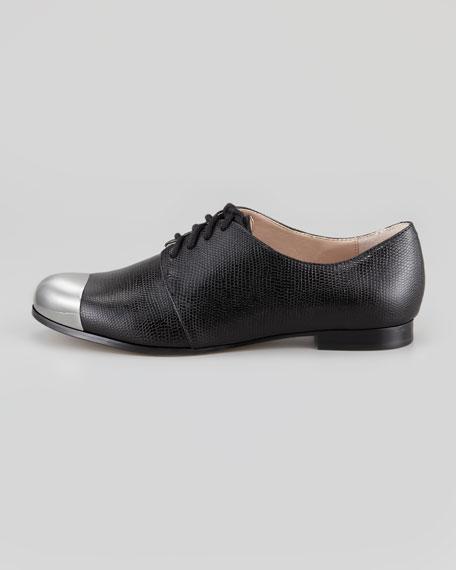 Sammi Lizard-Print Leather Oxford, Black