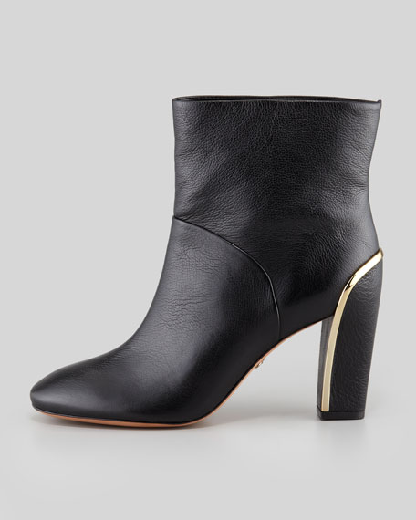 Glenda Heel-Detail Leather Bootie, Black
