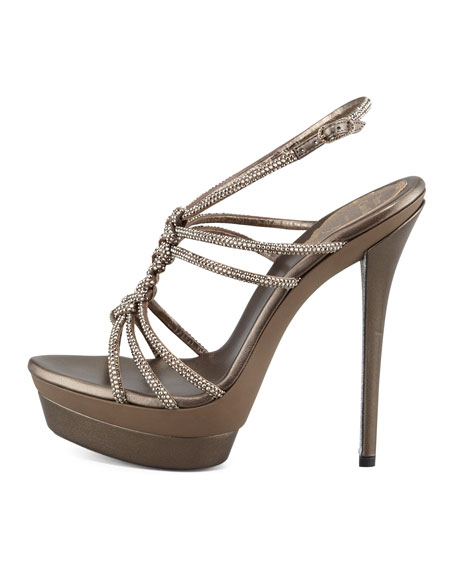 Twisted Crystal Platform Sandals, Light Golden