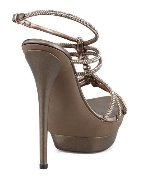 Twisted Crystal Platform Sandals, Light Golden