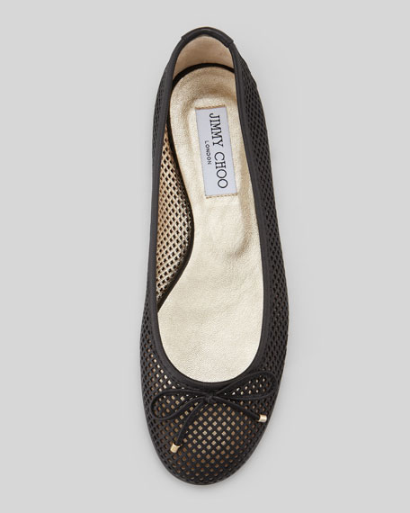 Walsh Lattice Ballerina Flat, Black