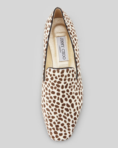 Wheel Animal-Print Calf Hair Loafer