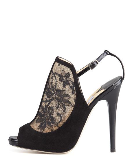 Maylen Lace & Suede Platform Sandal