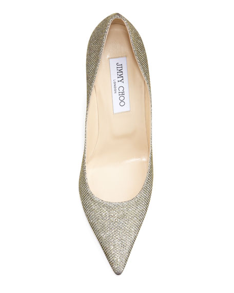 Agnes Glittery Pointed-Toe Pump, Pewter