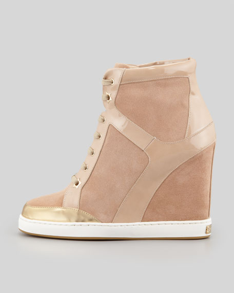 Panama Suede-Patent Leather Wedge Sneaker, Nude