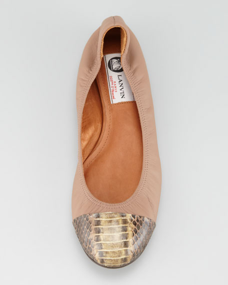 Snake-Toe Ballerina Flat, Brown