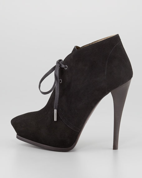 Suede Pointed Lace-Up Bootie, Black