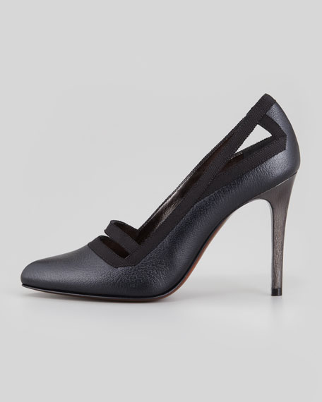 Timeless Grosgrain-Trim Pump, Black