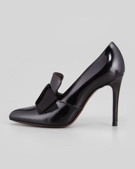 Shiny Leather Loafer Pump, Black