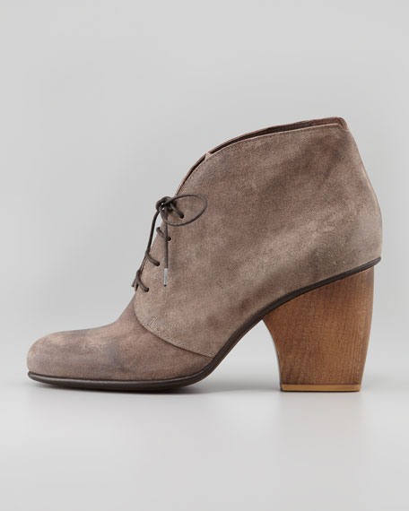 Genet Lace-Up Suede Bootie, Gray