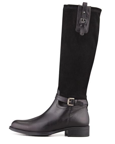 Upstart Stretch Suede Knee Boot, Black