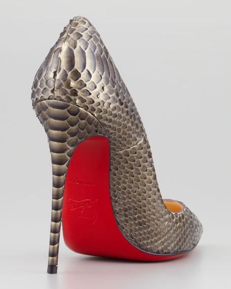 So Kate Python Pointed-Toe Red Sole Pump, Bronze
