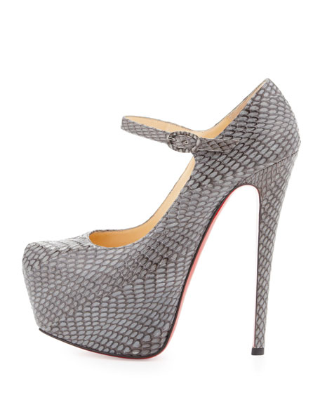 Lady Daf Snake Red Sole Mary Jane Pump, Gray