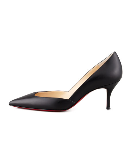 Malachic Pointed Leather Pump, Black