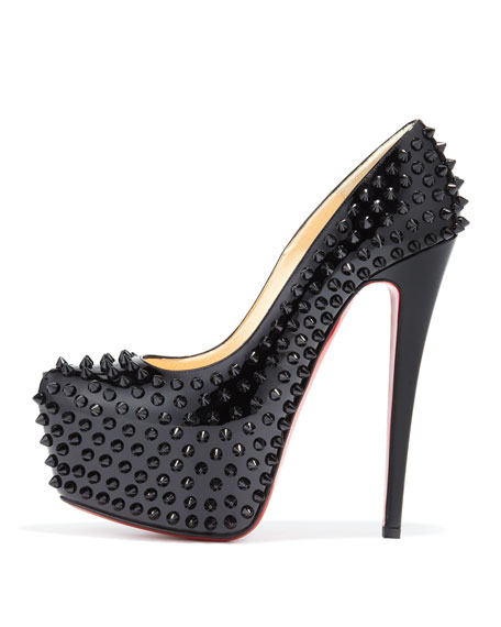 Daffodile Spiked Platform Red Sole Pump, Black