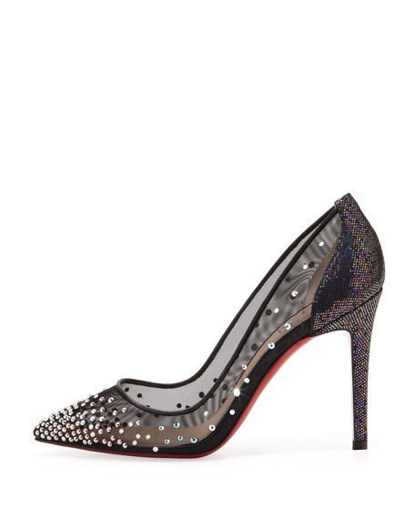 Body Strass Mesh Red-Sole Pump, Blue Kohl