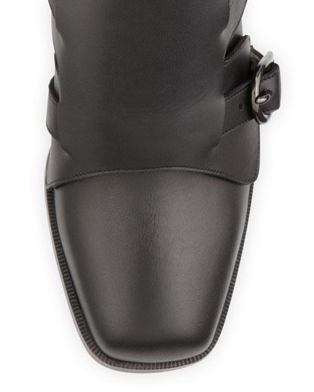5725e08d14f Caballero Leather Monk-Strap Knee Boot Black
