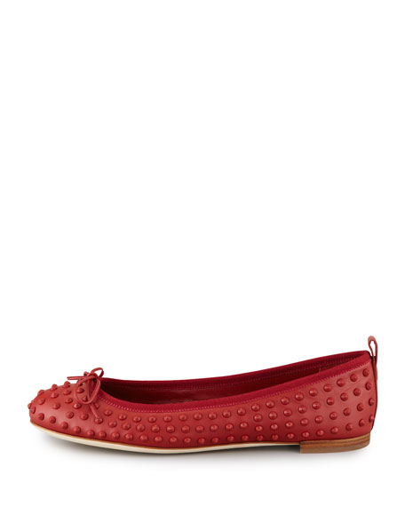 Studded Ballerina Bow Flat, Red