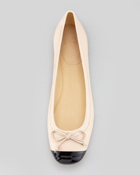 Stuart Weitzman Stringtip Cap-Toe Ballet Flat, Tan