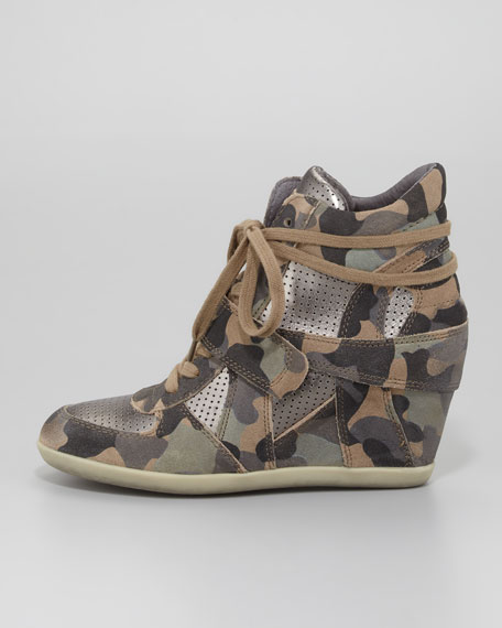 Bowie Camouflage-Print Wedge Sneaker