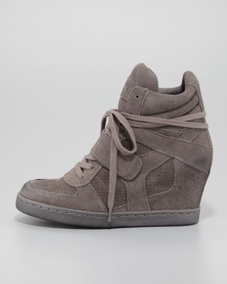 Cool Lace-Up Wedge Sneaker, Slate