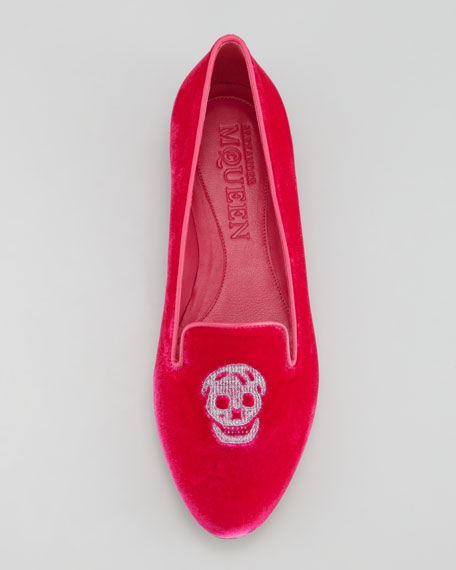 Embroidered Skull Smoking Slipper, Pink
