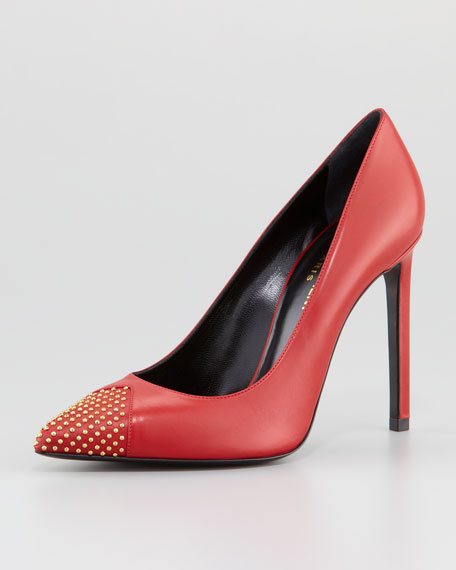 Studded Pointy-Toe Leather Pump, Red
