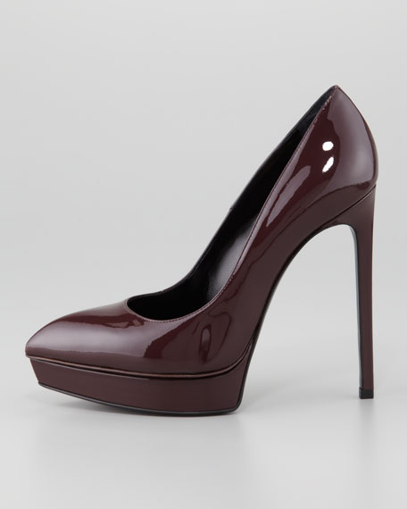 Janis Patent Pointed-Toe Pump, Bordeaux