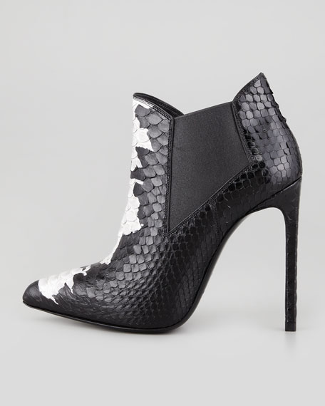 Python Point-Toe Bootie, Black/White