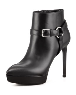 Saint Laurent Leather Platform Harness Bootie