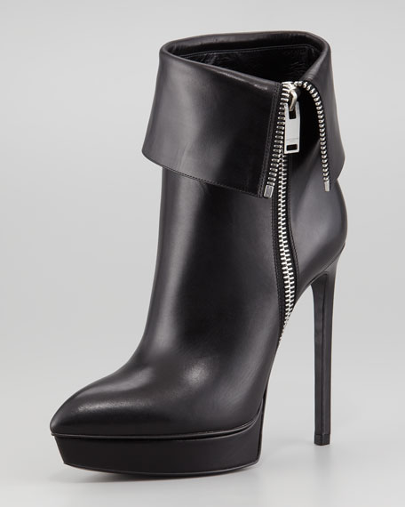 Leather Zip-Cuff Platform Bootie