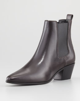 Yves Saint Laurent Calfskin Leather Ankle Boot, Dark Bordeaux