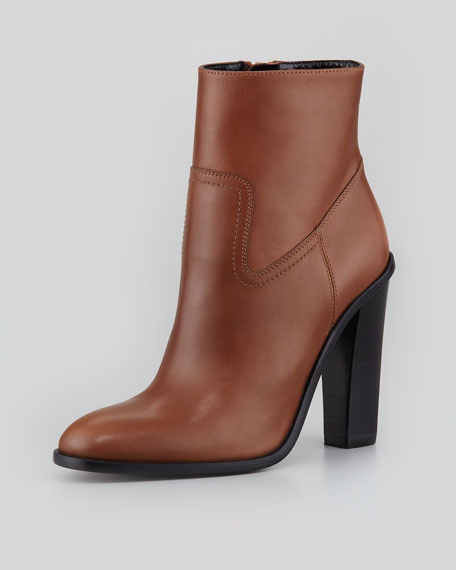 Side-Zip Leather Bootie, Havane