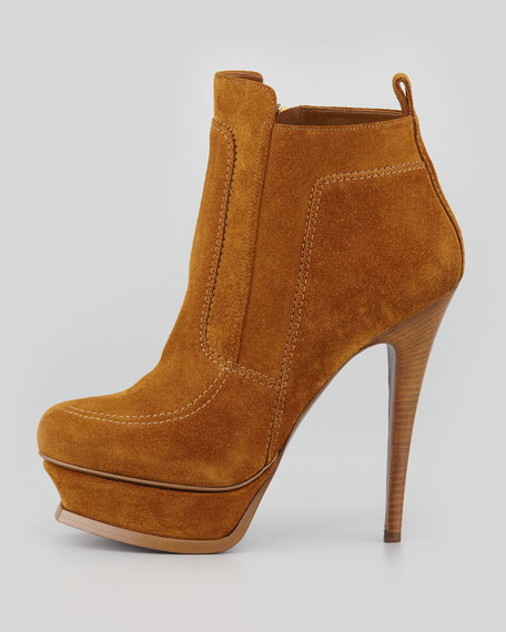 Shearling-Lined Platform Bootie, Ocre/White