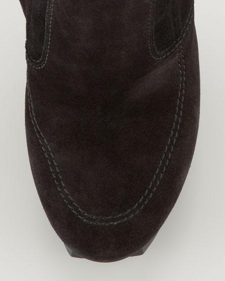 Shearling-Lined Platform Bootie, Black