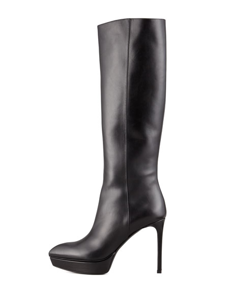 Mid-Heel Platform Knee Boot