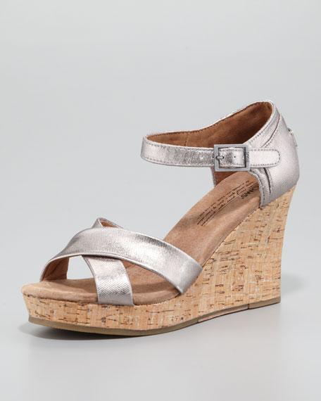 Cork Wedge Sandal, Pewter