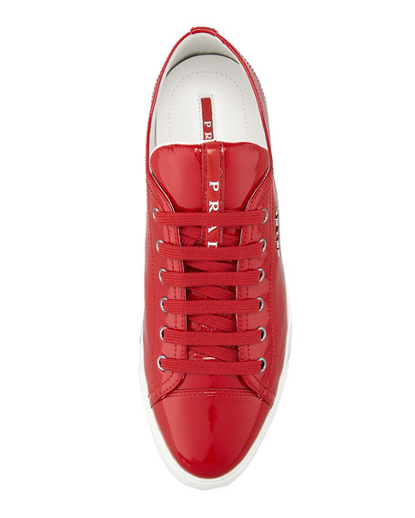 Patent Leather Flat Sneaker, Red