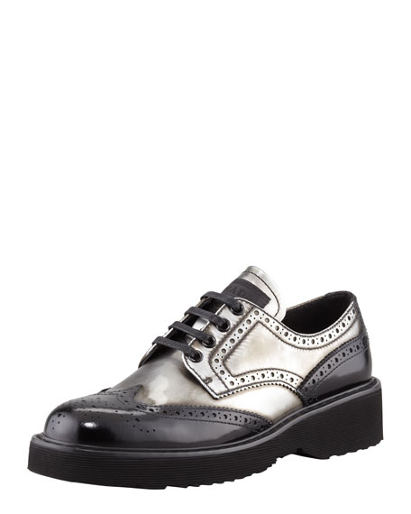 Wing-Tip Lace-Up Oxford, Anthracite