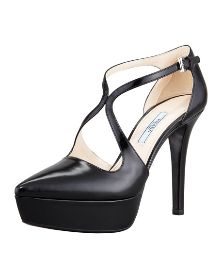 Crisscross Platform Pump, Black