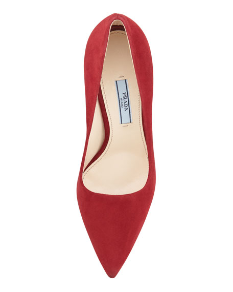 Suede Pointed-Toe Platform Pump