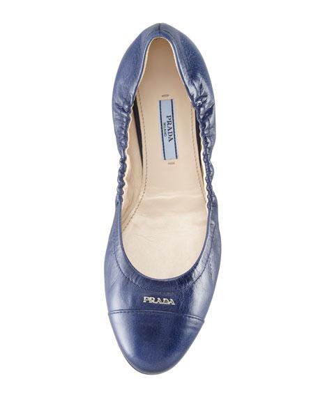 Cap-Toe Ballerina Scrunch Flat, Denim Blue