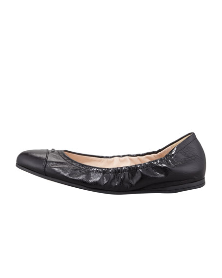 Cap-Toe Ballerina Scrunch Flat, Black