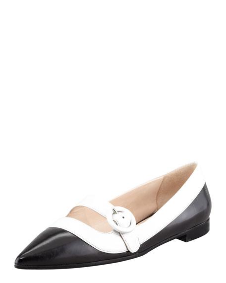 Bicolor Mary-Jane Ballerina Flat, Black/White
