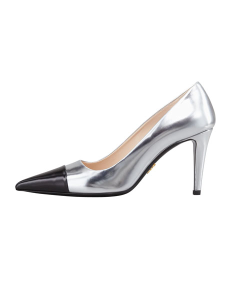 Bicolor Metallic Cap-Toe Pump, Silver/Black