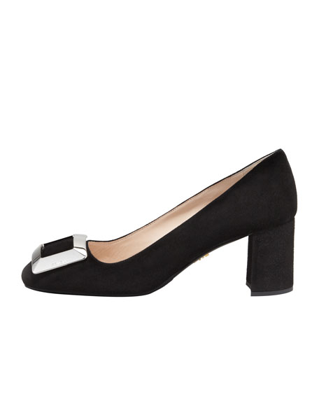 Suede Buckled Block-Heel Pump, Black
