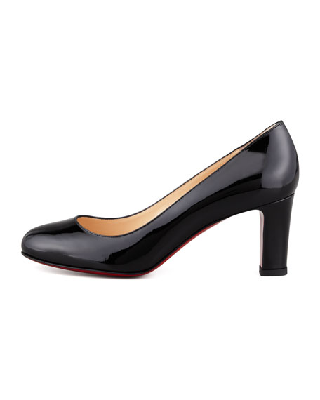 Mistica Low-Heel Red Sole Pump, Black