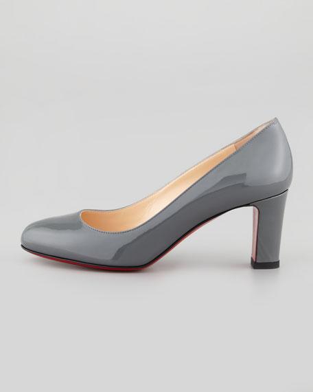 Mistica Low-Heel Red Sole Pump, Gray
